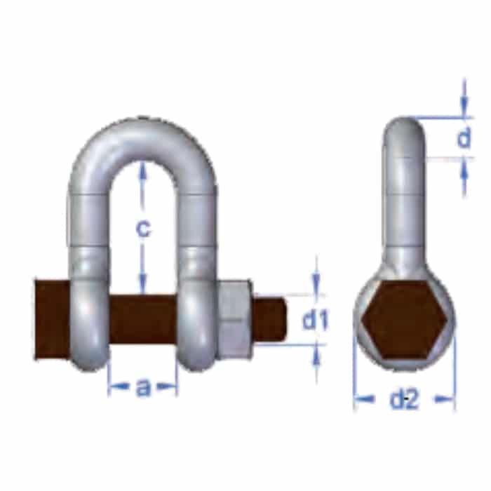 Gunnebo 835 Standard Dee Shackle with Safety Bolt