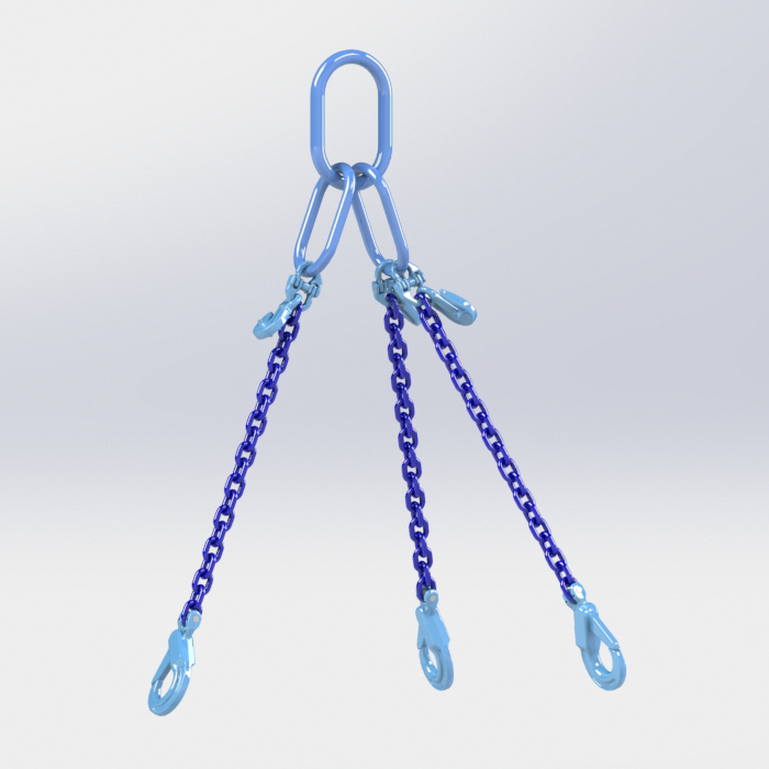 Grade 100 3 Leg Chain Sling fitted with Self Locking Safety Hook & Eye Type Grab Hook