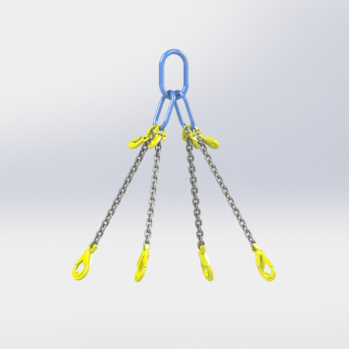 Grade 80 4 Leg Chain Sling fitted with Self Locking Safety Hook & Eye Type Grab Hook